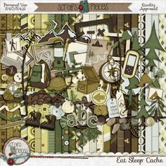 Eat.Sleep.Cache by Scraps N Pieces is made for all your caching adventures from logging your finds to scrapping pictures of your adventure. Not into caching? Not to worry, this kit has been designed with such versatility that it is perfect for any outdoor adventure; be it a walk in the woods, camping, or a picnic in the park.