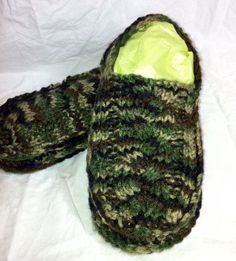 As requested...Camo cable knit slippers for Erick