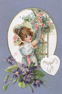 Antique Dolls by Sayuri Sinn Valentine Images, Vintage Valentine Cards, Vintage Greeting Cards, Vintage Postcards, Vintage Images, Holiday Postcards, Roses And Violets, Pink Roses, Victorian Crafts