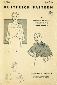 1930s 30s Butterick 4559 Vintage Sewing Pattern cape shawl draped wrap size small bust 32 - 34 reproduction