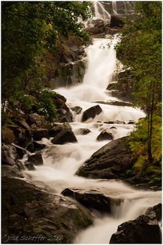 One of my own long exposure photographs. Waterfall along the road in Norway, summer 2016