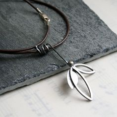 Sterling Silver Leaflet Necklace Brown by Decadence2Jewelry