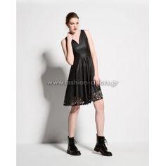 Φόρεμα δερμάτινο με laser cut στο τελείωμα