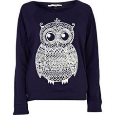 navy owl print top - long sleeve tops - t shirts / vests / sweats - women - River Island