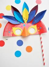 Paper plate rio carnival masks rio carnival carnival masks and colorful feathers - Masque de clown a fabriquer ...