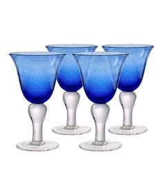 Take a look at this Cobalt Blue Iris Wine Glass - Set of Four by Artland on #zulily today!