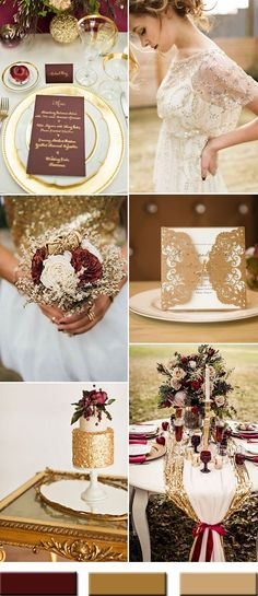 We all know Amazing Wedding design is really suitable for our Wedding. You can learn from our article (Trendy Gold Wedding Color Combos Brimming An Elegant and Luxurious Outlook) and get some ideas for your Wedding design. Wedding Color Combinations, Wedding Color Schemes, Color Combos, Colour Schemes, Color Trends, Trendy Wedding, Dream Wedding, Wedding Day, Fall Wedding Menu