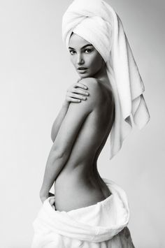 "Lily Aldridge No. 66 in Mario Testino's ""Towel Series"""