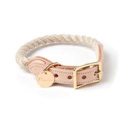 Light Tan Rope & Leather Cat & Dog Collar
