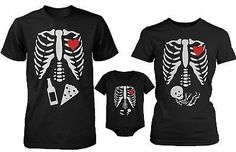 Funny Family Matching Shirts Daddy Mommy Baby X-Ray Halloween Shirt and Bodysuit