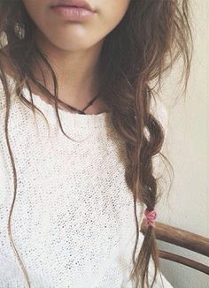 knitted sweater + messy braid