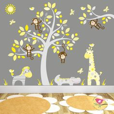 Jungle Wall Stickers with Tree Decal feat. by EnchantedInteriorsUK