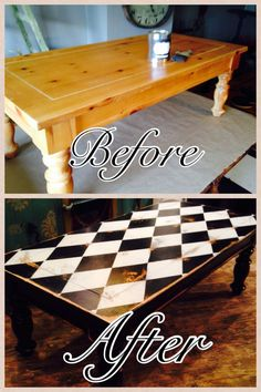 Coffee table,  harlequin design,  black and white,  painted furniture, chalk paint.  Furniture redo This tutorial is great! I have to say I have a great tool to assist in achieving the Diamond - Harlequin Pattern. Simple to use. works really well! Check it out! https://www.facebook.com/ma...