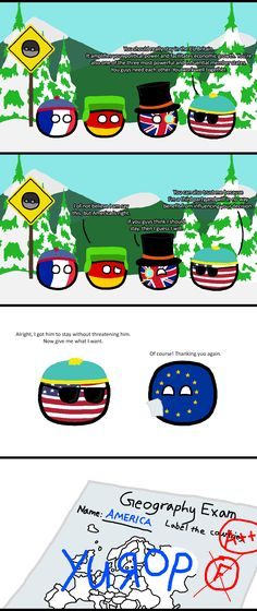 Come on down to Europe and meet some friends of mine. ( USA, UK, Germany, France, Europe ) by Baron koleye of kolaje #polandball #countryball