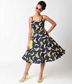 Collectif 1950s Simona Navy Blue & Yellow Banana Print Swing Dress