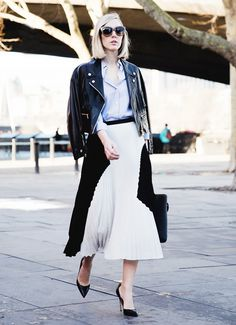 Swapping out a blazer in favor of a biker jacket is a bold move—we only recommend it for a creative job environment, and if you keep the rest of your outfit rather buttoned-up. Photo...