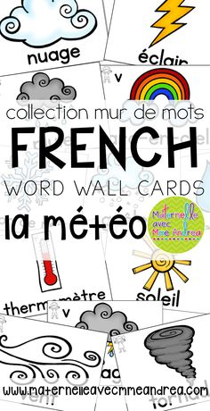 Collection mur de mots | FRENCH weather word wall cards | la météo | vocabulaire | maternelle