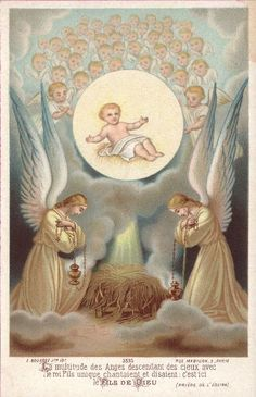 "The multitude of angels descending from heaven with the King, the only Son, sang and declared, ""This is the Son of God. Jesus Christ Images, Jesus Art, Catholic Art, Religious Art, Norway Christmas, Vintage Holy Cards, I Believe In Angels, Religious Pictures, Mary And Jesus"
