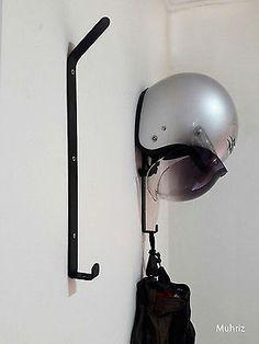 1x Motorcycle Helmet Holder, Jacket Hanger, Motorbike Wall Mount Display Rack