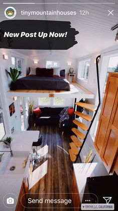 Tiny Spaces, Small Apartments, Beautiful Interior Design, Tiny House Living, Tiny House Design, Tiny House On Wheels, Small Space Living, Lofts, Bungalow