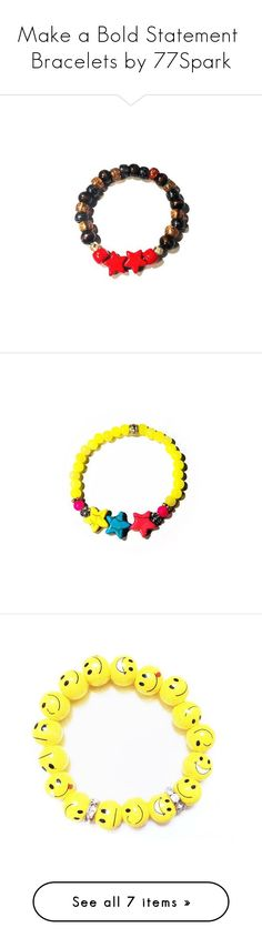 """Make a Bold Statement  Bracelets by 77Spark"" by shop77spark on Polyvore featuring jewelry, bracelets, handcrafted jewellery, tigers eye jewelry, star bangle, hand crafted jewelry, red bangles, star jewelry, rock jewelry and handcrafted jewelry"