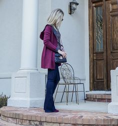 Winter color trend: Marc Fisher suede booties, hooded cardigan, flared jeans WHBM - winter outfit by petite style blogger AnnRobieFashion