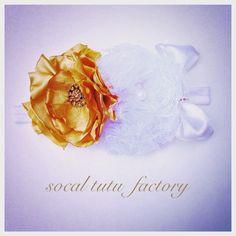 White & Gold Baby Headband by SoCal Tutu Factory