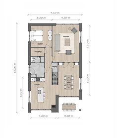 Lange Jaap B - Lighthouse Living 3d House Plans, Family House Plans, Small House Plans, Home Design Plans, Plan Design, Suburban House, House Inside, Facade House, House Layouts