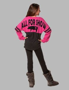 All for show. Stock show spirit jersey. Pig show shirt for girls. Girls pom pom jersey.  by FlamingoPinksApparel