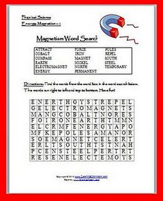 Magnetism Word Search Puzzle