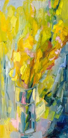 Original art for sale at UGallery.com | Gladioli by Lena Levin | $750 | oil painting | 24 h x 12 w | http://www.ugallery.com/oil-painting-gladioli