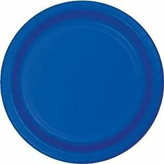 "Amazon.com: Custom & Unique {9"" Inch} 24 Count Multi-Pack Set of Medium Size Round Disposable Paper Plates w/ Single Colored Basic Winter Celebration Party ""Blue Colored"": Kitchen & Dining"