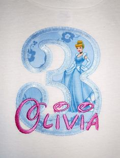 Design your own Letter or Number Princess Cinderella character applique t-shirt  - Personalized free. $20.00, via Etsy.