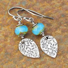 Fine Silver PMC Czech Glass Earrings - Meadow