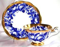 Royal Albert Tea Cup and Saucer, Cobalt Blue Roses with heavy gilding