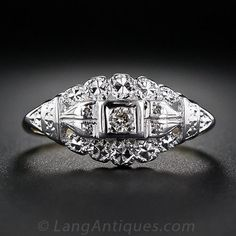 Vintage Two-Tone Gold and Diamond Engagement Ring - 10-1-5237 - Lang Antiques