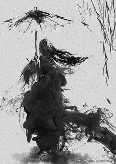 sumi-e mysterious woman Illustration Art, Illustrations, Botanical Illustration, Japanese Illustration, Japanese Painting, Chinese Painting, Painting Art, Traditional Paintings, Traditional Japanese Art