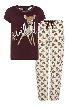 Disney Bambi Print Pyjama Set Cute Disney Outfits, Disney Pajamas, Cute Outfits, Disney Clothes, Cute Pjs, Cute Pajamas, Onesie Pajamas, Lounge Pants, Lounge Wear