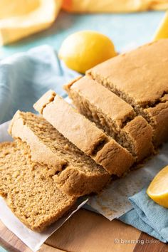 Easy Vegan Lemon Loaf: this dairy free lemon loaf is moist & fluffy, bursting with bright lemon flavor. Easy to make, Plant-Based ingredients, Gluten Free. Dairy Free Bread, Gluten Free Bars, Gluten Free Snacks, Paleo Bread, Vegan Sweets, Vegan Desserts, Just Desserts, Vegan Recipes, Lemon Bread