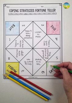 Use this paper fortune teller craft to teach and practice coping strategies for anxiety, anger, stress, depression, and other strong emotions. Coping Skills Activities, Counseling Activities, Art Therapy Activities, Group Counseling, School Counseling, Group Activities, Therapy Worksheets, Anxiety Activities, Toddler Activities