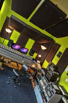 The control room of Galaxy Smith, centered on a Sound Workshop 34C console.