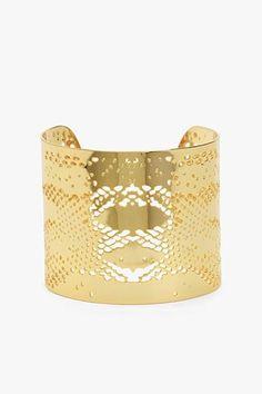 7 For All Mankind, Gorjana Python Cuff in Gold. #7FAM