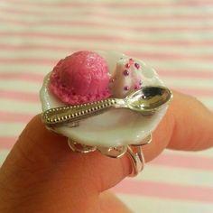 Strawberry Ice Cream Scoop & Whipped Cream by DreamlandMiniatures