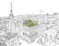 illustration for Hermes: un jardin sur le toit - French Roof Top Inspiration for the fragrance. Gorgeous!
