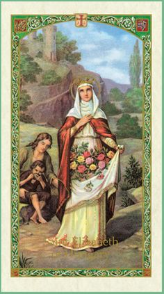 Detailed article about St. Elizabeth of Hungary including historical and biographical information, patronages, associated images, appearance in art and related prayers. Catholic Saints, Patron Saints, Roman Catholic, Saint Elizabeth Of Hungary, Christian Charities, Vintage Holy Cards, All Souls Day, Catholic Crafts, World Thinking Day