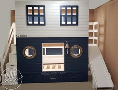 This solid wood custom twin over twin over drawer storage will add that extra touch of fun to any nautical themed bedroom or playroom.  This bed features removable drawer storage stairs, removable slide, real brass tone porthole windows & bell!   Our pieces are completely custom & we offer delivery across most of the continental US.    #bunkbed #sharedroom #interiordesign #designideasforkids #storagesolution #nautical #boatbed #shipbed #kidsbed #bunkbedwithslide #bunkbedwithstairs Storage Stairs, Drawer Storage, Kid Beds, Bunk Beds, Playhouse Loft Bed, Queen Loft Beds, Bunk Bed With Slide, Boat Bed, Bedroom Themes