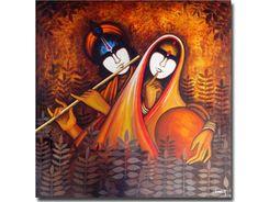 trendy ideas for art gallery fabrics canvases Lord Ganesha Paintings, Krishna Painting, Krishna Art, Krishna Images, Lord Krishna, Krishna Pictures, Radhe Krishna, Acrylic Painting Canvas, Canvas Art