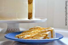 Butterscotch. Cheese Cake. Cake. Cream Cheese. Buttercream. Caramel Leaves. Butterscotch Sauce. Layer Cake. Holidays. Fiesta Ware. Slice.
