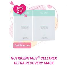 NUTRICENTIALS® CELLTREX ULTRA RECOVERY MASK  Recharge your tired skin after a long day with Celltrex Ultra Recovery Mask. This mask is infused with shea butter and other powerful ingredients that help restore and revitalise your complexion.Each 100-percent cotton sheet is lightweight and packed with long-lasting hydration to make your skin the best version of itself. For a limited time only when you purchase 2x Nutricentials Celltrex Ultra Recovery Masks you will receive 20% off!!! Valentine Special, Cotton Sheets, 20 Off, Restore, Shea Butter, Your Skin, Recovery, Tired, Masks