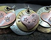 Dog Tag - Pet tag/Tags - Pet Id Tag-  Copper Nickel/Silver Brass with Tilted Copper Heart- Hand stamped Engraved Personalized